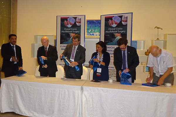 Prof. S. M. Balaji with Prof. Mossey, Prof. Walls, Prof. D' Souza, Dr. Fox, and Prof. Tolar at the book release function.